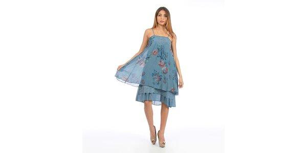 Dámske modré šaty s kvetinovou potlačou Anabelle