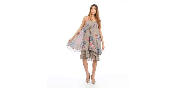 Dámske šedohnedé šaty s kvetinovou potlačou Anabelle