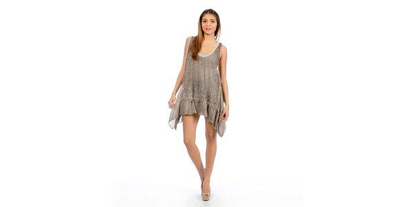 Dámske šedohnedé šaty s čipkou Anabelle