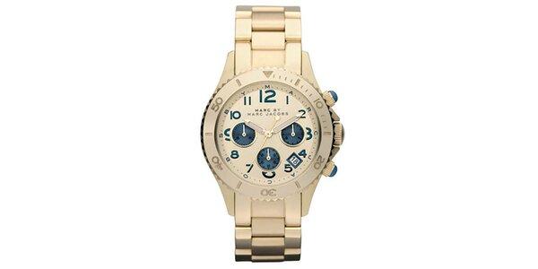 Dámske zlaté hodinky s modrými prvkami Marc Jacobs