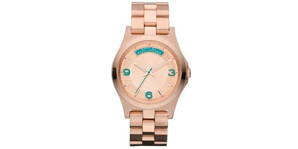Dámske pozlátené oceľové hodinky s farebnými číslicami Marc Jacobs