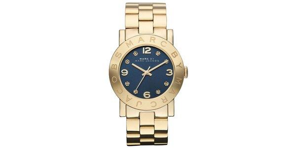 Dámske pozlátené oceľové hodinky s tmavým ciferníkom Marc Jacobs