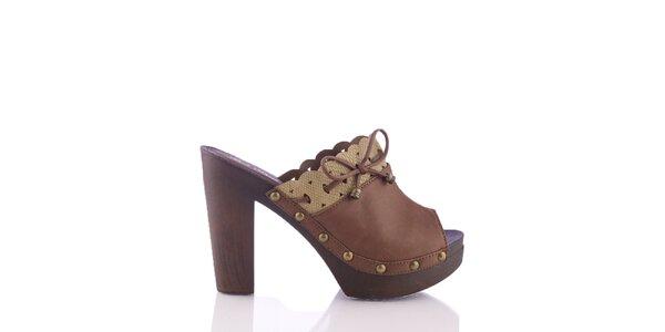 Dámske hnedé sandálky s ozdobným lemom a šnúrkou Kickside