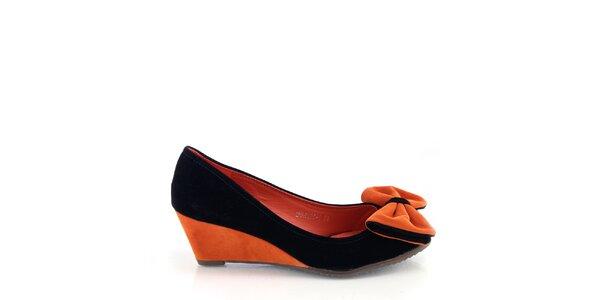 Dámske čierno-oranžové lodičky s mašľou Kickside