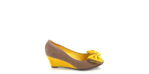 Dámske khaki-žlté lodičky s mašľou Kickside