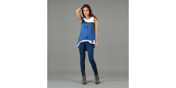 Dámska modrá tunika bez rukávov Anabelle
