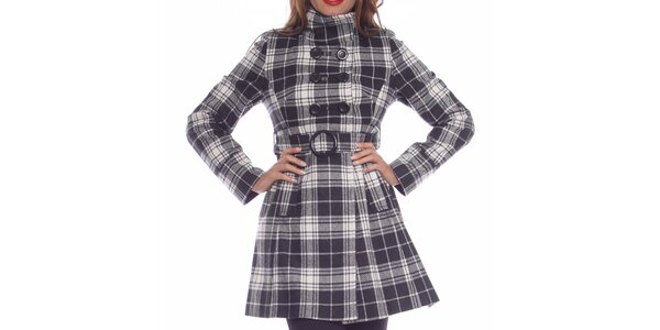 Dámsky čierno-biely károvaný kabát Vera Ravenna
