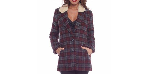 Dámsky šedo-vínový kabát s kožúškom Vera Ravenna