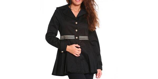 Dámsky čierny krátky kabát s bielymi prúžkami Vera Ravenna