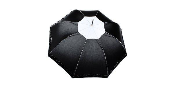 Dámsky čierny romantický vystreľovací dáždnik Ferré Milano
