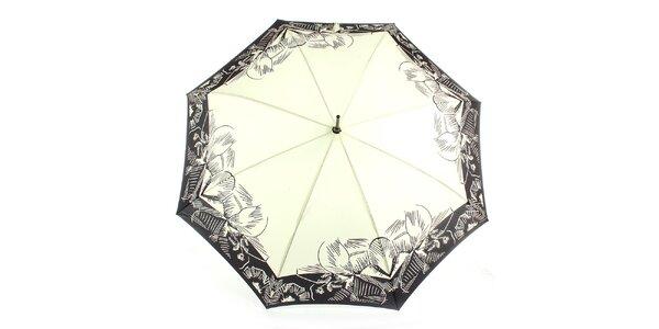 Dámsky krémovo-čierny vystreľovací dáždnik Ferré Milano