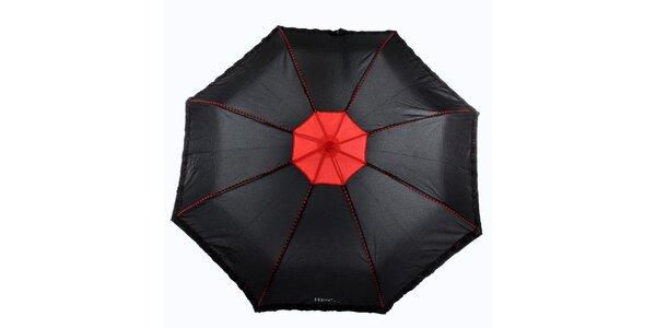Dámsky čierno-červený dáždnik s plastickými kvetmi Ferré Milano