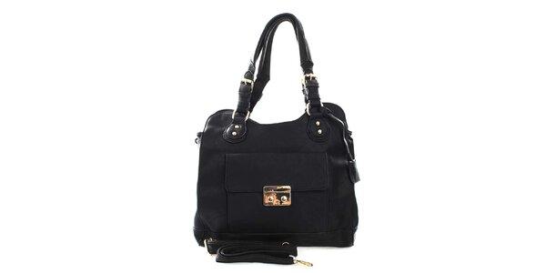 Dámska čierna kabelka s odnímateľným popruhom London Fashion