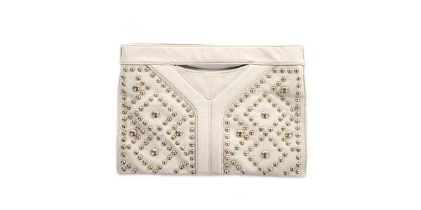 Dámska svetlo béžová listová kabelka s cvokmi London Fashion