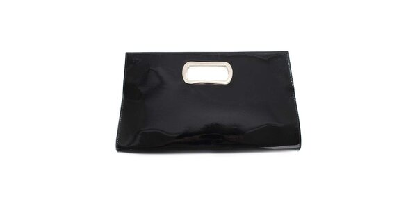 Dámska čierna lakovaná listová kabelka London Fashion