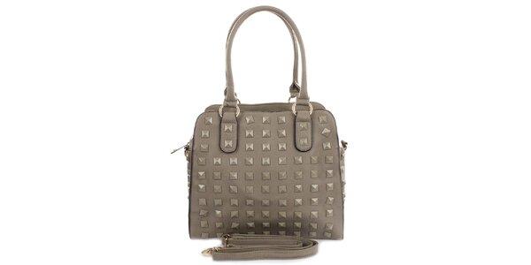 Dámska šedá kabelka s pyramídkami London Fashion