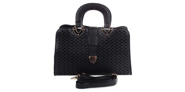 Dámska čierna kabelka s dekoratívnym perforovaním London Fashion