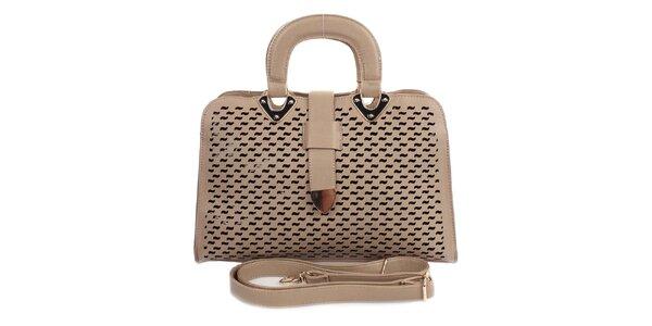 Dámska svetlá kabelka s ozdobným perforovaním London Fashion