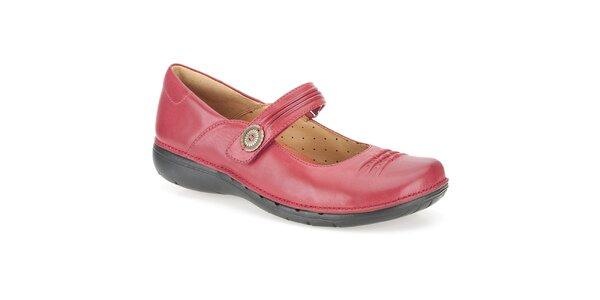 Dámske červené kožené baleríny Clarks