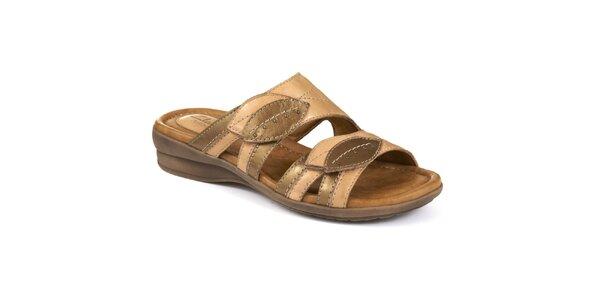 Dámske kožené béžové nazúvacie sandálky s listami Clarks