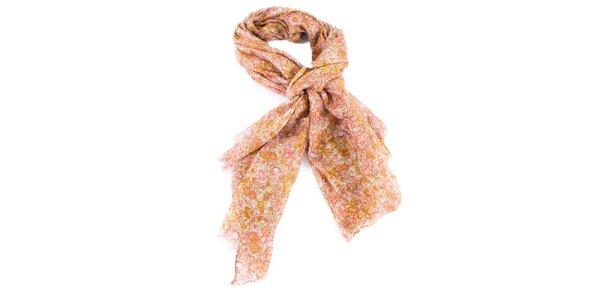 Dámska ružovo-oranžová kvietkovaná šatka Gianfranco Ferré