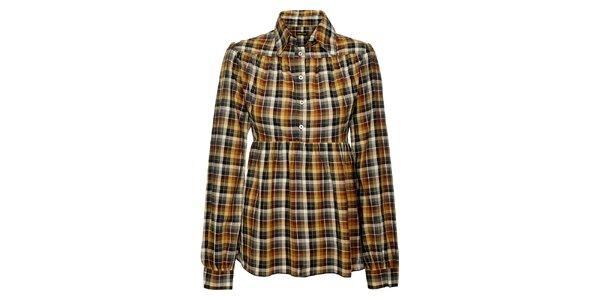 Dámska hnedo-šedá kockovaná košeľa Freesoul