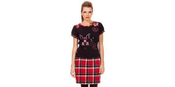 Dámske čierno-červené kockované šaty Missing Johnny