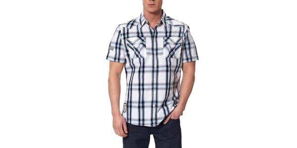 Pánska čierno-modro-biela kockovaná košeľa Paul Stragas