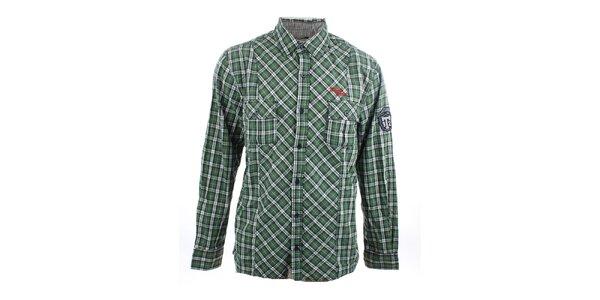 Pánska zeleno-biela kockovaná košeľa Timeout