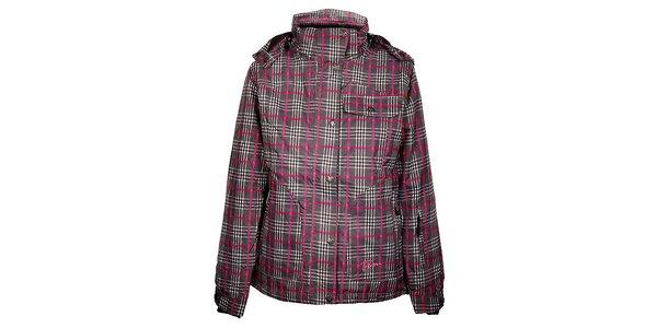 Dámska šedo-ružová zimná kockovaná bunda Trimm Burda s membránou
