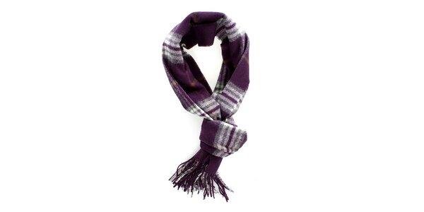 Dámsky fialový kockovaný šál Fraas