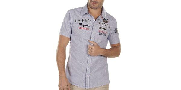 Pánska kockovaná košeľa s výšivkou na hrudi Bendorff
