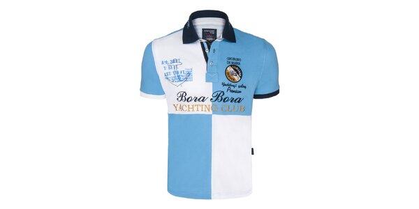 Pánske modro-biele kockované polo tričko Giorgio Di Mare