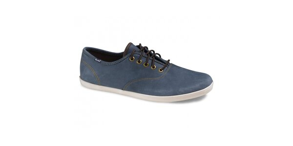 Pánske ocelovo modré kožené tenisky Keds