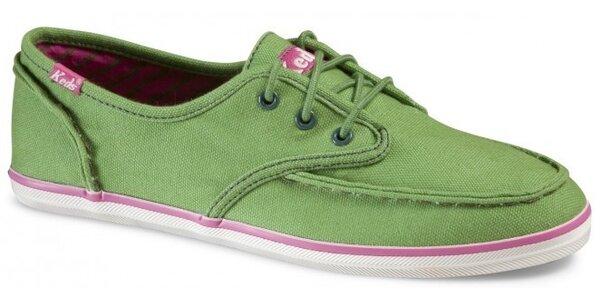 Dámske svetlo zelené plátené tenisky Keds s hrubým švom
