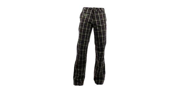 Pánske tmavé kockované nohavice Envy so žiarivými prúžkami