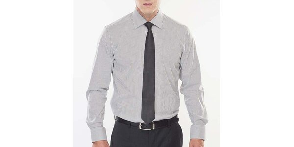 Pánska čierno-bielo prúžkovaná košeľa Blažek