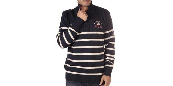 Pánsky tmavo modrý sveter s prúžkami a rebrovaním CLK