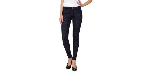 Dámske tmavomodré vzorované džínsy 2nd One
