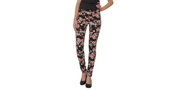Dámske čierne nohavice s farebnými kvetmi 2nd One