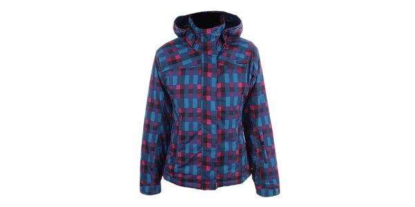 Dámska ružovo-modrá bunda s kapucňou Envy