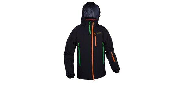 Pánska čierna lyžiarska bunda s farebnými zipsami Envy