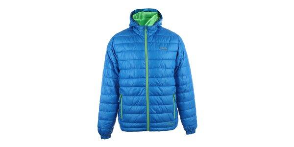 Pánska modrá prešívaná zimná bunda so zelenými zipsami Envy
