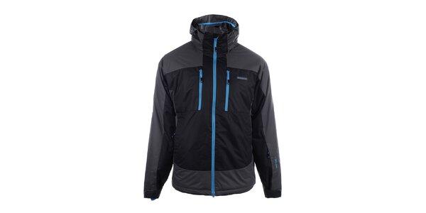 Pánska čierno-šedá lyžiarska bunda s modrým zipsom Envy