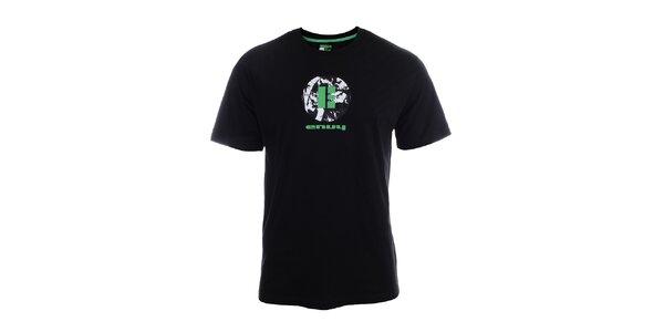 Pánske čierne tričko s krátkym rukávom a potlačou Envy
