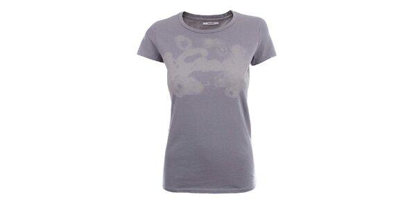 Dámske šedé tričko so vzorom a kamienkami Gas