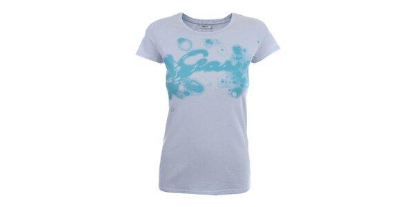 Dámske biele tričko so vzorom a kamienkami Gas