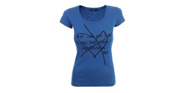 Dámske modré tričko s krátkym rukávom a čiernym nápisom Gas