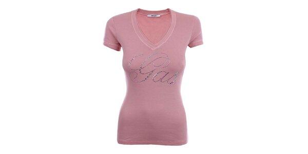 Dámske růžové tričko s dlhým rukávom a blýskavým nápisom Gas
