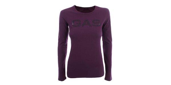 Dámske fialové tričko s dlhým rukávom a nápisom Gas